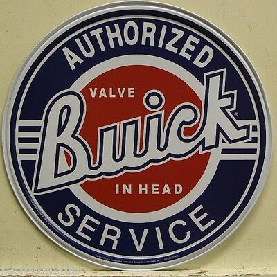 "BUICK metal sign 12"" round authorized service buick vintage style dealer    185"