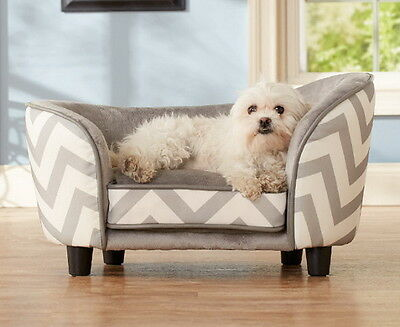 Enchanted Home Dog Pet ULTRA PLUSH Snuggle Bed Lounge Furniture Grey Chevron