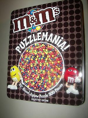 """M&m Candy Puzzle In Tin - Puzzle Is Complete  500 Pieces  20"""" Round"""