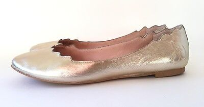2bc70df8e732ac Sam Edelman Women s Augusta Ballet Flat Light Gold Leather Size 8.5 M US