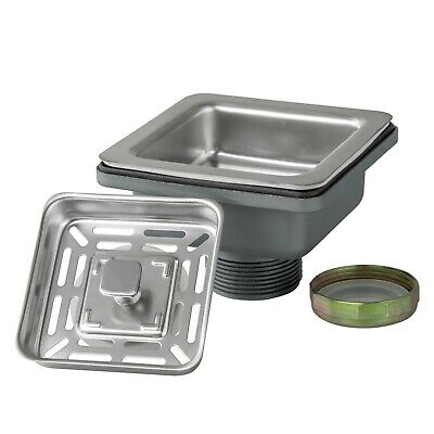 """3.5"""" Square Shape Stainless Steel Kitchen Sink 2-in-1 Drain w/ Strainer Set"""