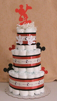 3 Tier Diaper Cake Walt Disney MICKEY MOUSE Baby Shower Centerpiece