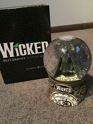 WICKED Glitter Globe Music Box Defy Gravity Broadway Musical Original Box Snow