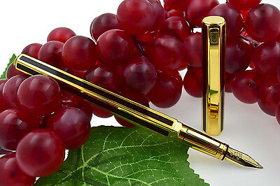 Caran D'Ache Hexagonal Gold Plated & Burgundy Red Chinese Lacquer Fountain Pen M