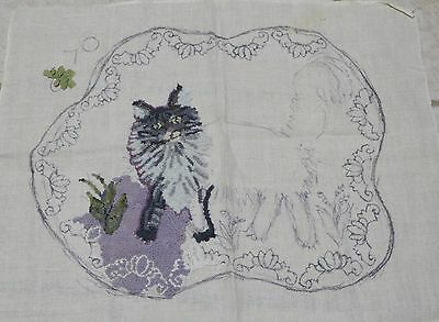 "Rug Hooking Burlap Linen Pattern CAT 28"" x 36"" Started Unknown Brand"