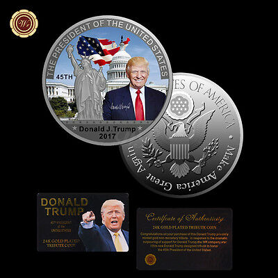 45Th US President Donald Trump 999 Silver Commemorative Coin Liberty White House