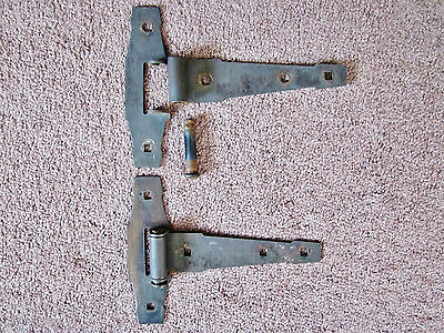 set of antique hinges-med. large--black metal,old  & very nice,complete