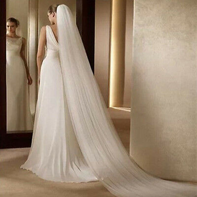 Fashion 2 Layer 3M Soft Cathedral Length Long Bridal Wedding Veil With Comb New