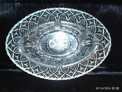 """Cut Glass Candy Nut Dish Vegetable Tray Serving Dish 12""""x8"""" Approx 1.5"""" Depth"""