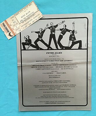 PETER ALLEN AND THE ROCKETTES Program w/ Ticket (1982) (Radio City)