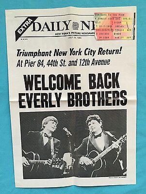 EVERLY BROTHERS Reunion at Pier 84 Program and Ticket (1984)