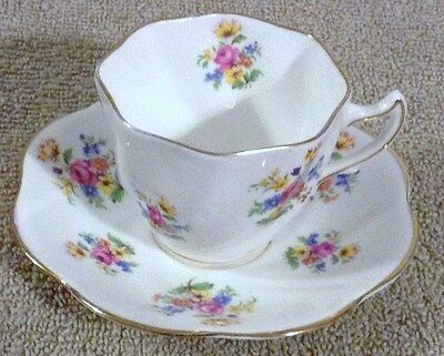 Rosina English Bone China Cup & Saucer Pink Blue Yellow Flowers #5024 Very Nice