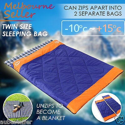Double Outdoor Camping Envelope Twin Sleeping Bag Thermal Hiking Winter -10°C