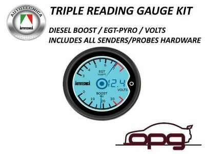 Performance Lcd Digital Dual Gauge Diesel Egt Pyro & Boost & Volts 52Mm 7 Colour