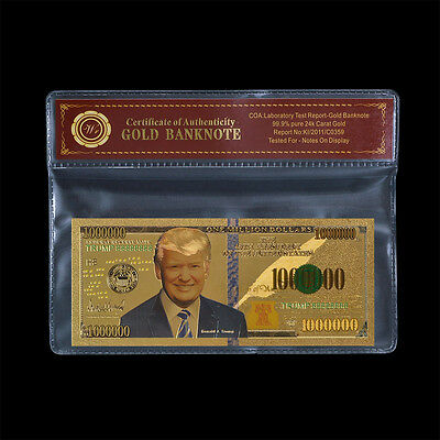 WR Donald Trump U.S. 45th President 1 Million 24k Gold Banknote Collection Note