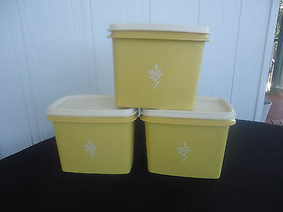 3 vintage retro tupperware harvest gold canisters