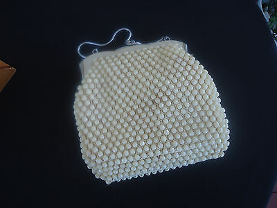 vintage art deco retro beaded ladies handbag cream