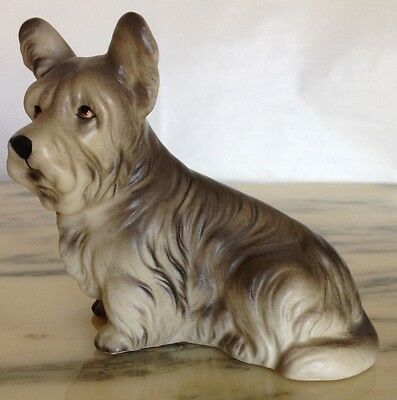 Vintage Elusive Ucagco Japan Skye Terrier - Realistic Sitting Dog Model!