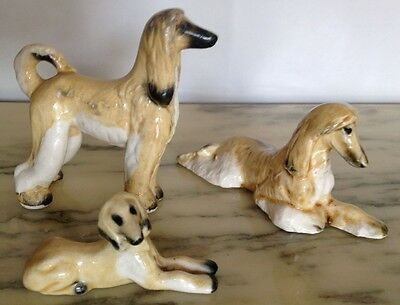 Vintage Japan Style Porcelain Afghan Hound Dog Family Of Three!