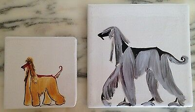 2 Vintage Porcelain Tile Paintings - Exotic Blue & Classic Red Afghan Hound Dogs