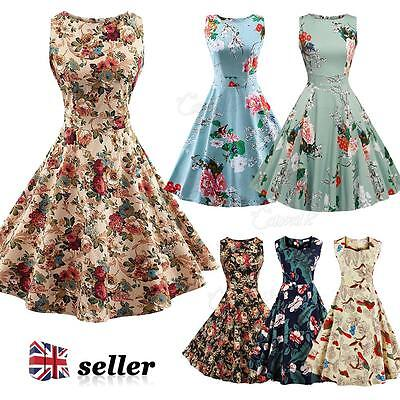 Womens Vintage 1950s 60s Dress Rockabilly Retro Style Floral Swing Skater Dress