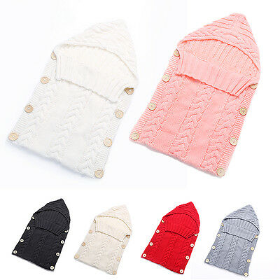 Newborn Baby Infant Knit Soft Sleeping Bag Sleep Sack Wrap Blanket Swaddle