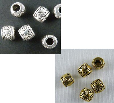 100pcs Silver/Gold Color Rings Pattern Bead Spacers 7x6mm 89