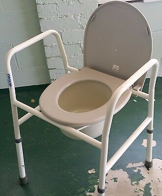 Folding Commode Chair Toilet Seat with Bucket Adjustable Height Disability Aid