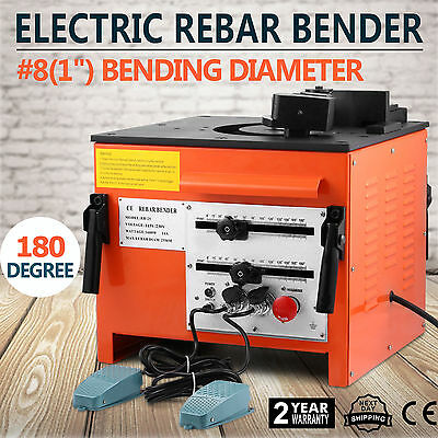 Electirc Rebar Steel Bender Bending Pipe Tube Metal 0-180 Degree Foot Switch