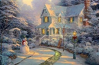 Large Festive Snowman Winter Christmas Snow Scene Light up LED Canvas/Picture...