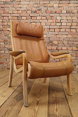 60s Retro EASY CHAIR DANISH COGNAC LEATHER ARMCHAIR FAUTEUIL SKIPPERS Vintage