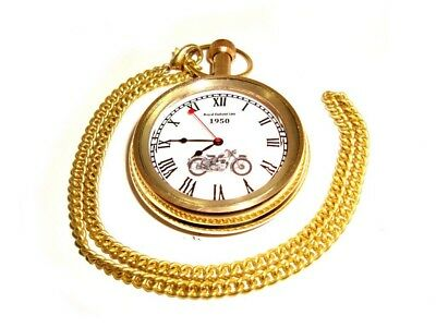New Royal Enfield 500 1950 Golden Brass Pocket Watch With Chain