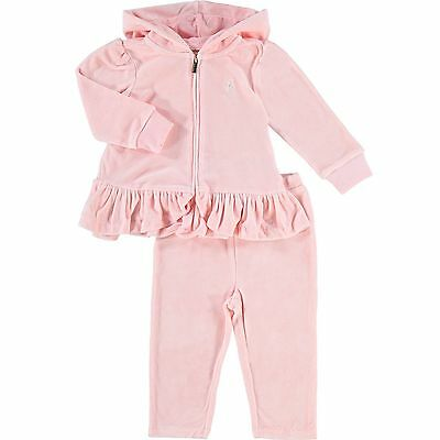 RALPH LAUREN baby girls velour TRACKSUIT 9/12M 12/18M 18/24M pink or cream BNWT