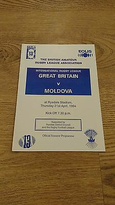 Great Britain v Moldova 1994 Amateur Rugby League Programme