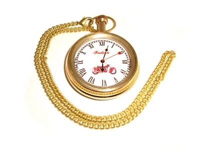Indian Motorcycle Golden Brass Pocket Watch With Chain High Quality