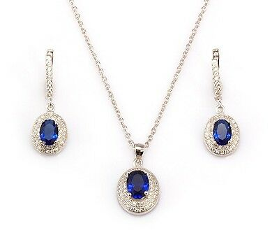 Platinum Over Silver Necklace and Earring Set With Created Sapphires & Diamonds