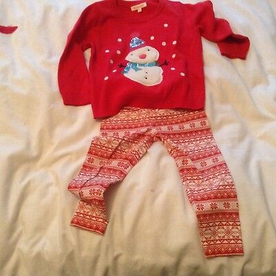 girls christmas jumper and leggings age 2 to 3 yrs