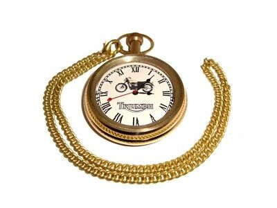 Brand New Triumph Motorcyle Golden Brass Pocket Watch With Chain