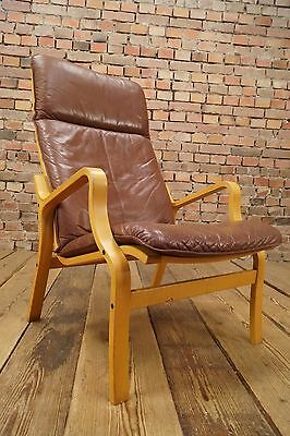 60s Retro EASY CHAIR DANISH LEATHER ARMCHAIR DENMARK LOUNGE FAUTEUIL Vintage 2