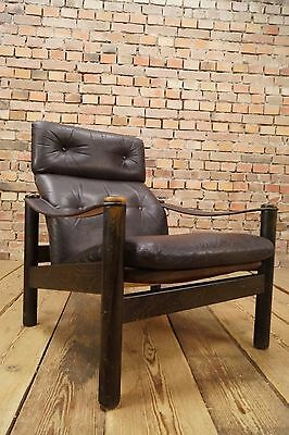 60s Retro EASY CHAIR DANISH LEATHER RECLINER ARMCHAIR RELAX FAUTEUIL Vintage