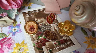 Job Lot Vintage Dried Flower Jewellery Earrings, Pendant, Scarf Clip, Pin