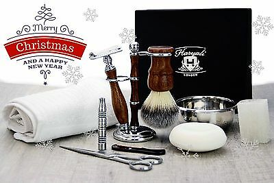 10 Pieces Luxury Men's Grooming Kit With DE Safety Razor.Perfect as a Gift