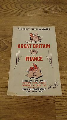 Great Britain v France 1963 Rugby League Programme