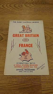 Great Britain v France 1968 Rugby League Programme