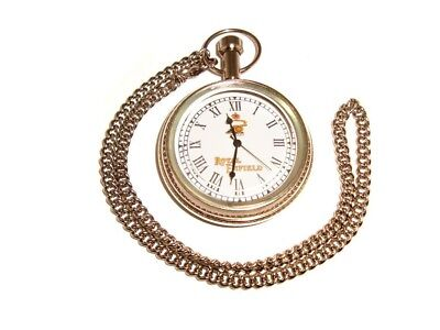 Royal Enfield Brass Chromed Pocket Watch With Chain Brand New