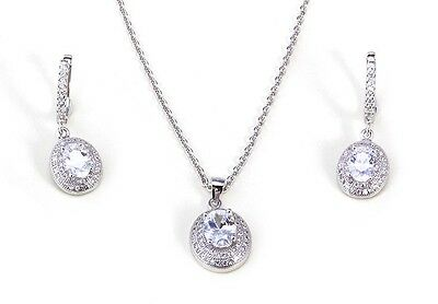 Platinum Plated Sterling Silver Necklace And Earrings Set With Created Diamonds