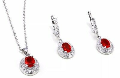 Platinum Over Silver Necklace & Earring Set With Created Rubies & Diamonds