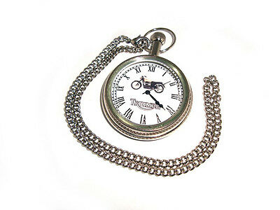 Triumph Motorcyle Chrome Brass Pocket Watch With Chain Brand New