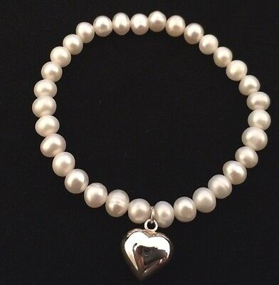 Fresh Water Pearl Bracelet With Sterling Silver Heart Charm (stretchy No Clasp)