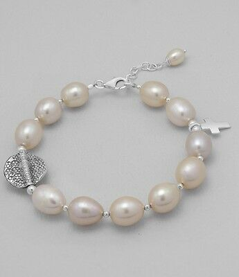 Peach Freshwater Pearl Bracelet With Sterling Silver Charms And Clasp